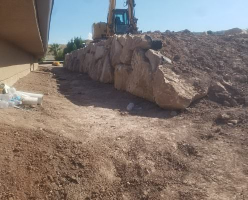 Fill dirt and retaining wall in St. George