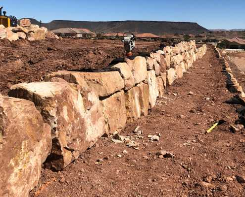 retaining rock wall landscaping in St. George, Utah